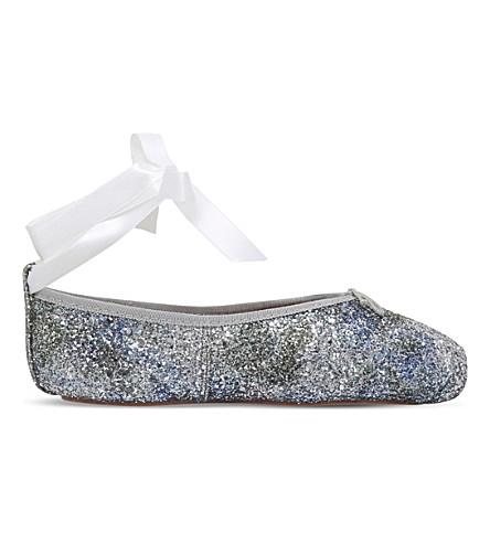 OPERA NATIONAL DE PARIS Preston pointe glitter-embellished leather ballet flats (Blue other