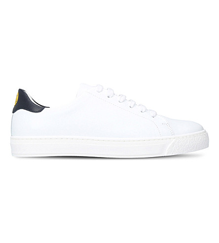 ANYA HINDMARCH Wink-motif leather sneakers (White/navy