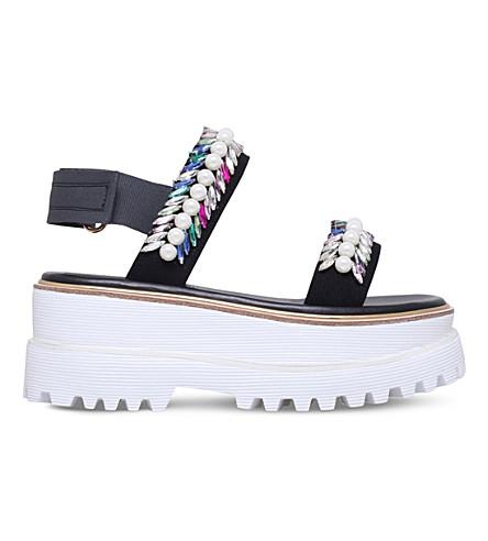 SUECOMMA BONNIE Jewel sports flatform sandals (Black