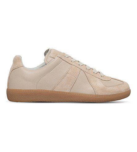 MAISON MARGIELA Replica suede low-top trainers (Beige