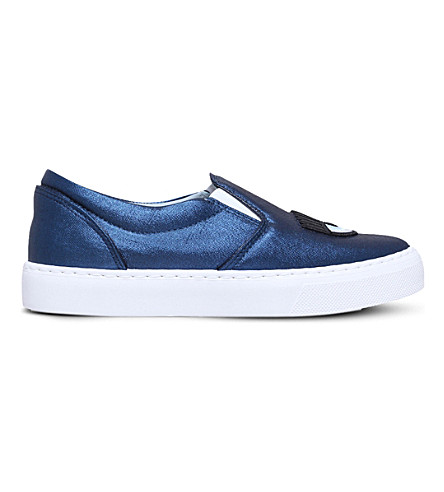CHIARA FERRAGNI Flirting lip leather skate shoes (Navy