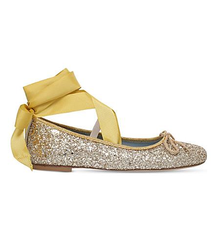 CHIARA FERRAGNI Glitter-embellished leather ballet flats
