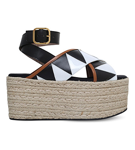 MARNI Criss-cross leather wedge sandals