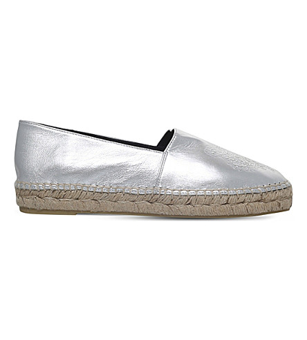 KENZO Tiger-embroidered metallic-leather espadrilles (Silver