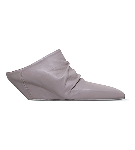 RICK OWENS Gathered leather ankle boots