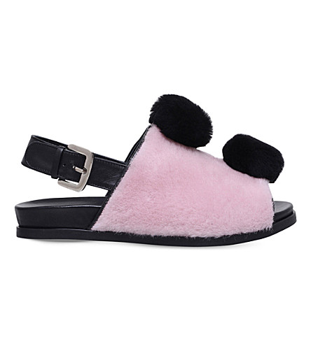 MINNA PARIKKA Teddy leather and faux-fur sandals (Pale pink