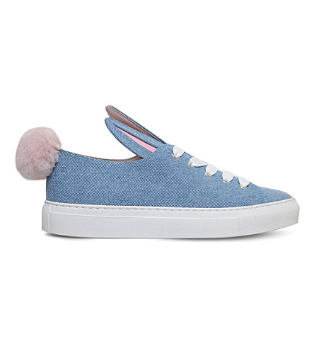 MINNA PARIKKA Tail denim and faux-fur trainers (Blue