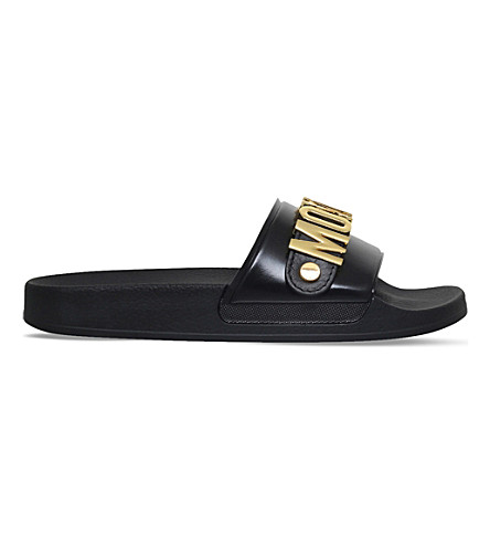 MOSCHINO Logo leather pool slides (Black