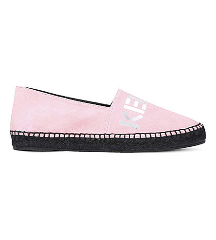 KENZO Mirrored-logo suede espadrilles (Pale+pink