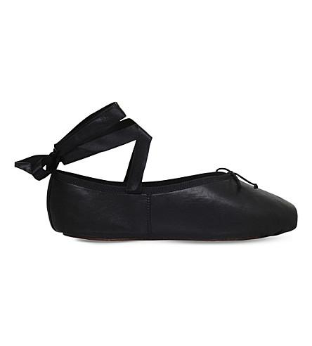 OPERA NATIONAL DE PARIS Palma leather ballet flats (Black
