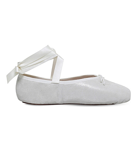OPERA NATIONAL DE PARIS Palma leather ballet flats (White