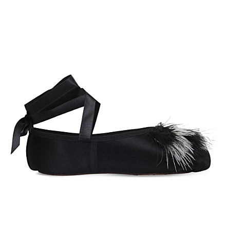 OPERA NATIONAL DE PARIS Pamplume feather-detail leather ballet flats (Blk/white