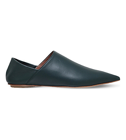 MARNI Pointed leather slippers (Dark green