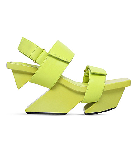 ISSEY MIYAKE X UNITED NUDE Rock and Wrap leather and wood sandal (Lime