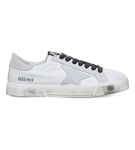 GOLDEN GOOSE May microglitter-coated leather sneakers (White