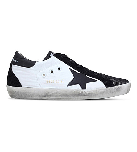 GOLDEN GOOSE Superstar leather and mesh trainers (White/blk