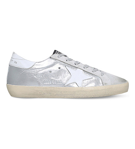 GOLDEN GOOSE Superstar c16 metallic leather trainers (Silver