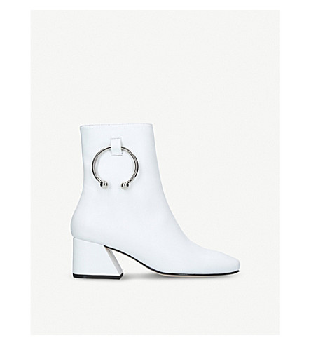 DORATEYMURNizip 环细节皮革靴子 (白色