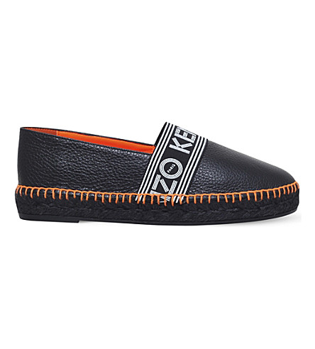 KENZO Logo-print leather espadrilles (Black