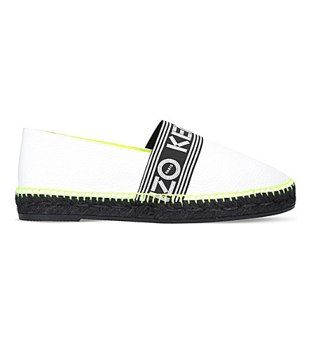 KENZO Logo-print leather espadrilles (White