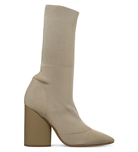 YEEZY Heeled knit sock boots (Taupe