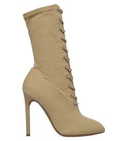 YEEZY Laced stretch-canvas heeled boots (Beige