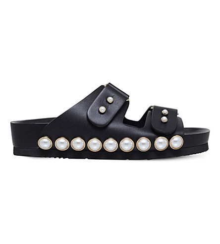 SUECOMMA BONNIE Embellished leather sandals (Black