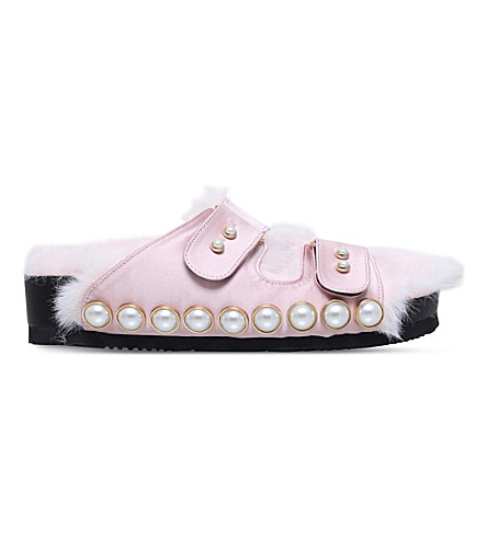 SUECOMMA BONNIE Embellished satin sandals (Pale+pink