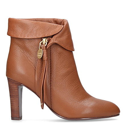 SEE BY CHLOE Masha leather heeled ankle boots (Brown