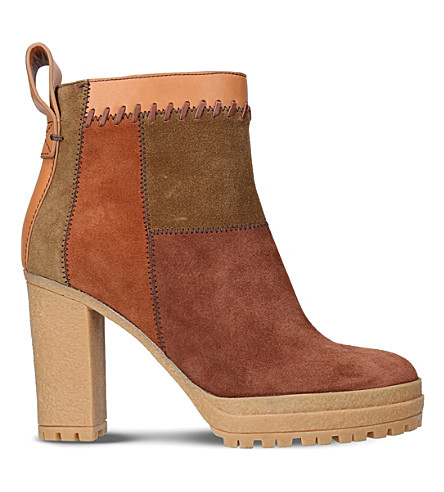 SEE BY CHLOE Polina patchwork suede ankle boots (Tan+comb