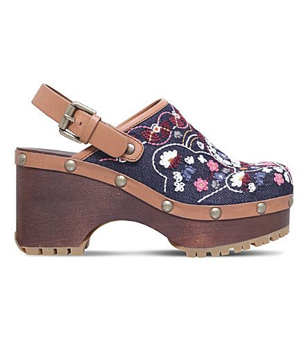 SEE BY CHLOE Tasha embroidered denim slingback clogs (Mult/other
