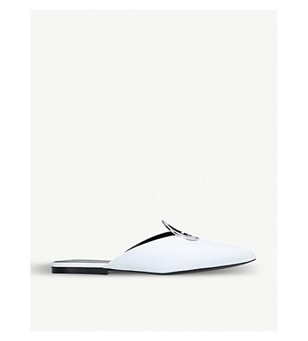 PROENZA SCHOULER 圆环细节绒面革穆勒鞋 (白色