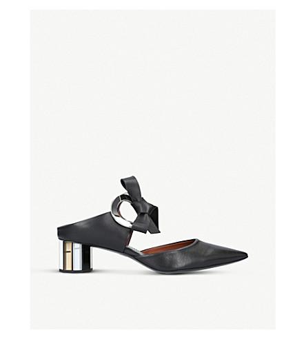 PROENZA SCHOULER 环领带皮革高跟鞋骡子 (黑色/梳子