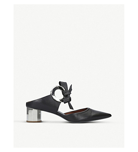 PROENZA SCHOULER Ring Tie leather heeled mules (Blk/other