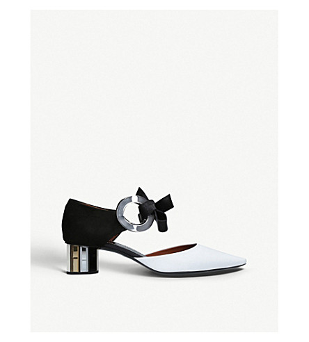 PROENZA SCHOULER Ring Tie leather heeled mules (White