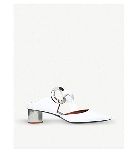PROENZA SCHOULER Ring Tie leather heeled mules (White/oth