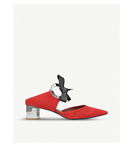 PROENZA SCHOULER Ring Tie suede heeled mules (Red