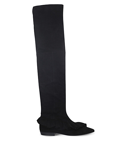 JW ANDERSON Ruffle-detail suede over-the-knee boots (Black