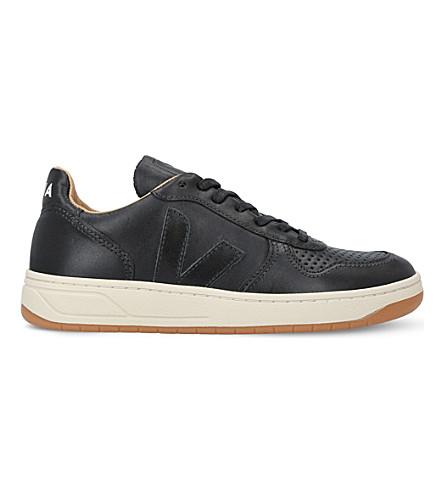 VEJA V-10 Bastille leather trainers (Black