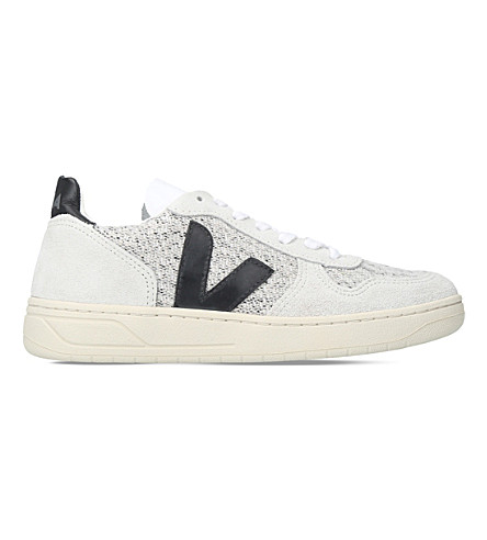 VEJA V10 flannel and suede trainers (Grey/m.cmb