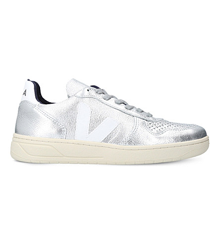 VEJA V-10 leather low-top trainers (Silver