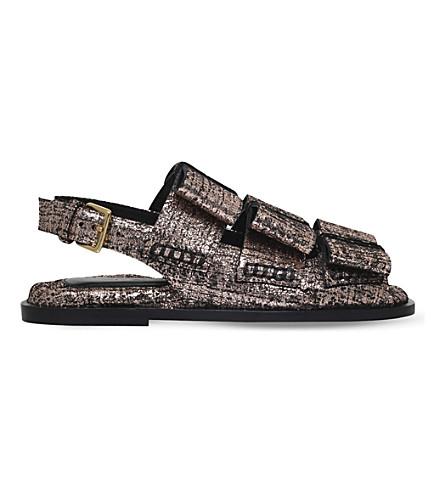 MARNI Triple bow metallic-leather sandals (Bronze