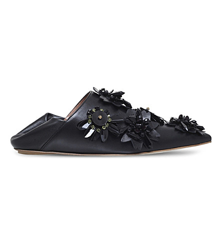 MARNI Floral-embellished leather mules (Black
