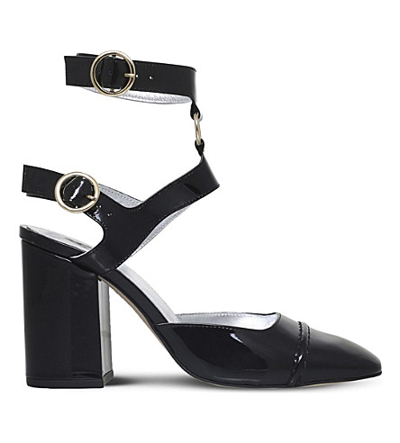 ALEXA CHUNG Ankle-strap patent-leather heeled pumps (Black