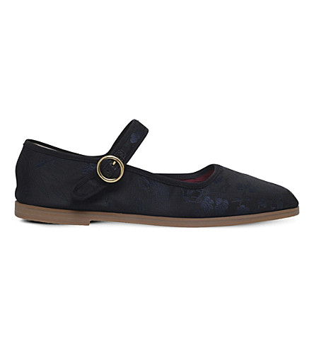ALEXA CHUNG Mary-Jane leather ballet pumps (Blk/blue