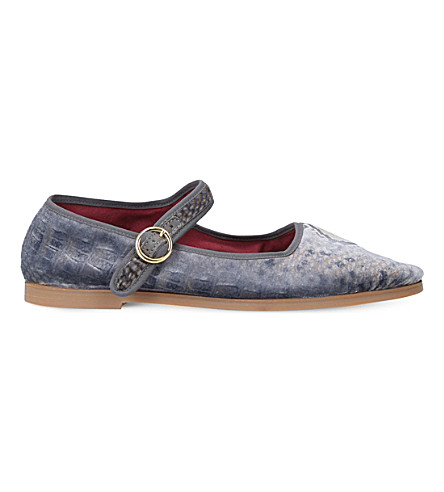 ALEXA CHUNG Jacquard leather mary janes (Grey/m.cmb