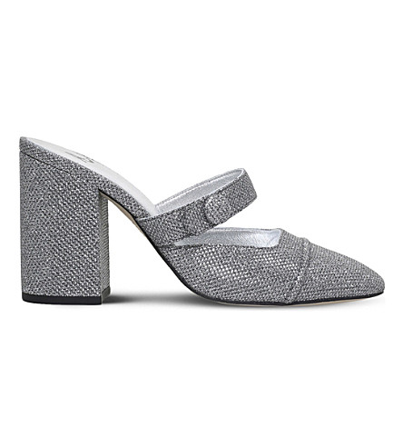 ALEXA CHUNG Backless metallic heeled mules (Silver