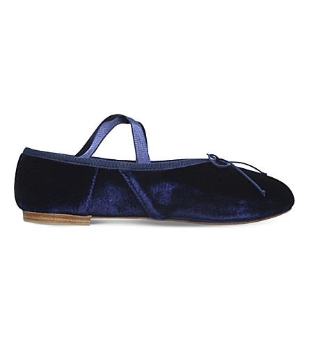 OPERA NATIONAL DE PARIS Gigi velvet ballet flats (Navy