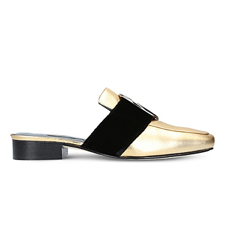 DORATEYMUR Petrol metallic leather mules (Gold+comb