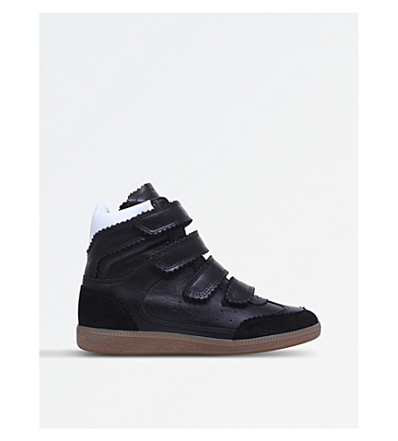 ISABEL MARANT Bilsy leather wedge high-top trainers (Black